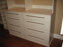 Master Bedroom Walk-In Closet Close-Up: Custom-Built Wood Shelving, Dressing Room Counter, Custom Luxury Homes, Indianapolis, Indiana