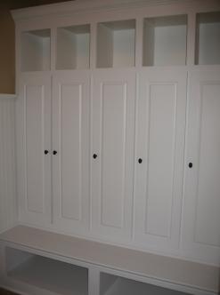 Transition / Mud Room, Custom-Built Coat Storage Lockers, Cubby Holes; Indianapolis, Indiana - Madison Custom Homes Inc.
