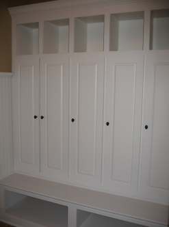 Transition / Mud Room, Custom-Built Coat Storage Lockers, Cubby Holes; Indianapolis, Indiana - Madison Custom Homes Inc.