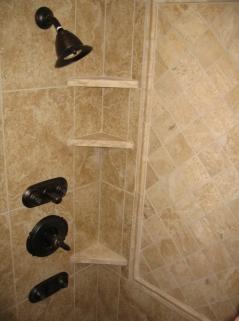 Master Bathroom, Walk-In Shower, Granite Tile, Built-In Toiletry Shelves, Indiana Luxury Home Builder, Indianapolis, Madison Custom Homes Inc.