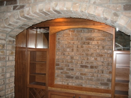 Luxury Home Noblesville: Basement, Custom-Built Wet Bar, Brick Wine Room, Custom-Built Oak Wine Racks, Indianapolis, Indiana
