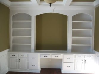Luxury Home: Home Office, Custom Built Wall Unit, Desk, Book Shelves, Decorative Beam / Molding Ceiling, Madison Custom Homes, Inc., Indianapolis, Indiana