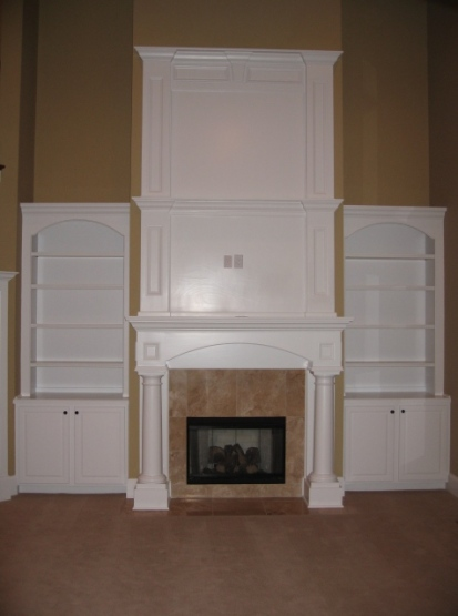 Luxury Home Great Room, Custom-Built Stone Tile Fireplace / Mantel, Built-In Bookcases, Carmel, Indiana - Madison Custom Homes