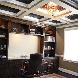 Custom Built-in Wall Unit, Book Shelves, Desk, Decorative Beam / Molding Ceiling