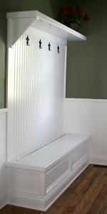 Transition / Mud Room, Custom-Built Storage Bench, Coat Hooks; Indianapolis, Carmel, Noblesville, Central Indiana - Madison Custom Homes Inc.
