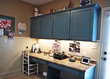 Laundry Room / Home Office, Custom-Built Desk and Storage Cabinets