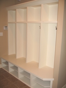Transition / Mud Room, Custom-Built Coat Storage Cabinet, Cubby Holes; Indianapolis, Indiana - Madison Custom Homes Inc.