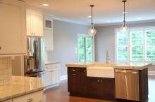 Kitchen Island and Stainless Steel Refrigerator in Central Indiana Custom Home built by Madison Custom Homes Inc.