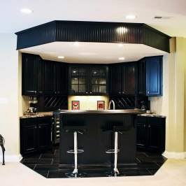 Basement Kitchen with Bar in Central Indiana Custom Home built by Madison Custom Homes Inc.