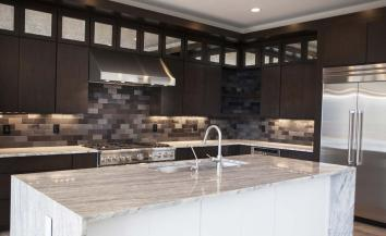 Kitchen Island with Sink in Central Indiana Custom Home built by Madison Custom Homes Inc.