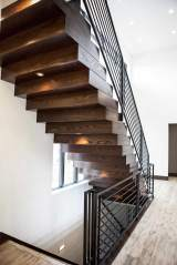 Hand-Built Wood Block Staircase in Central Indiana Custom Home built by Madison Custom Homes Inc.